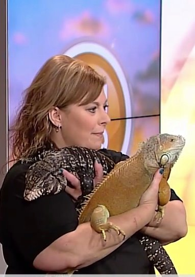 Member, Kathy Smith, with a Tegu and Iguana